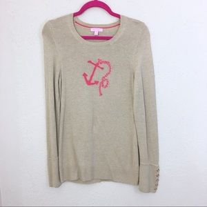 Lilly Pulitzer Anchor Sweater Tan Charter Medium